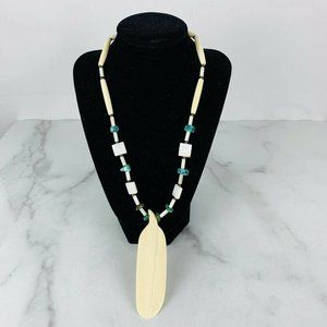 Native American Necklace Turquoise Feather Pendant